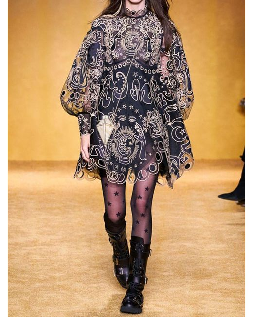 Короткое Платье Из Шелка С Оборками Zimmermann, цвет: Black
