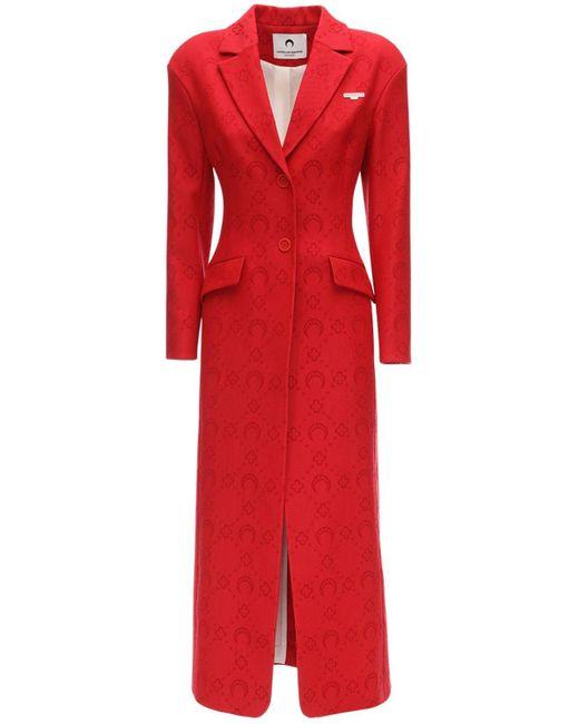 MARINE SERRE ジャカードモノグラムウールコート Red