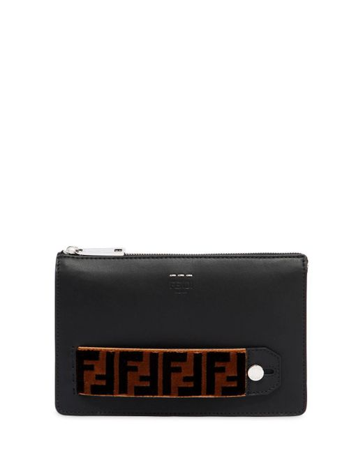 Fendi - Black Ff Signature Leather Pouch - Lyst