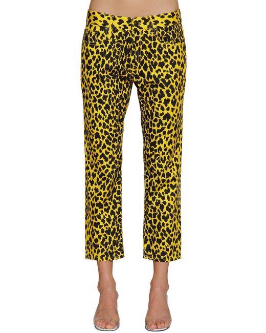 Vaqueros con estampado de leopardo R13 de color Yellow