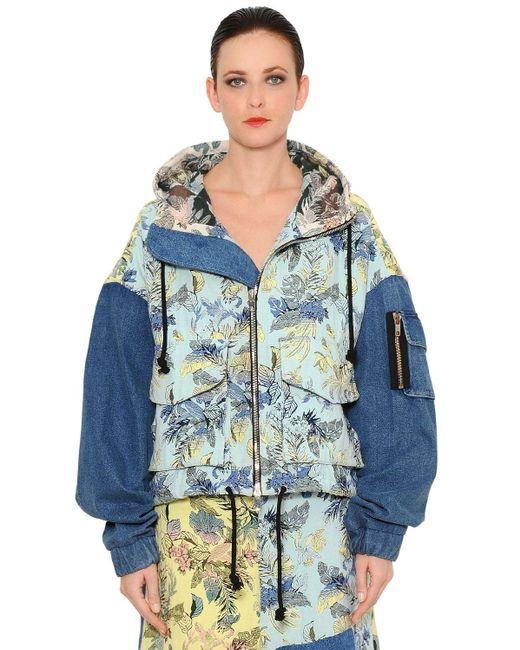 Marna Ro Brocade & Denim Patchwork Bomber Jacket Blue