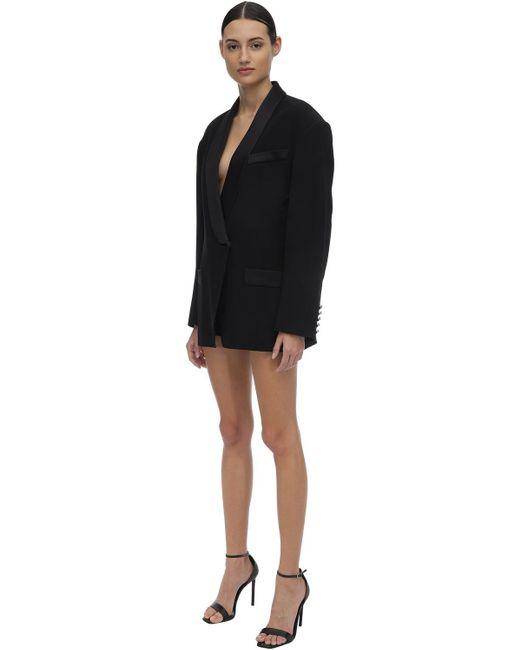 Robe Style Veste En Crêpe De Viscose Mélangée Balmain en coloris Black