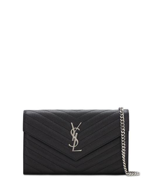 """Кожаный Кошелек """"md Monogram"""" Saint Laurent, цвет: Black"""