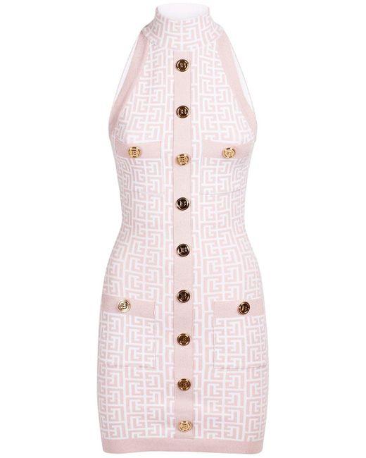 Balmain Monogram グリッタービスコースブレンドドレス Pink