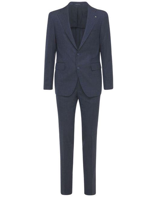 メンズ Tagliatore ストレッチヴァージンウールスーツ Blue