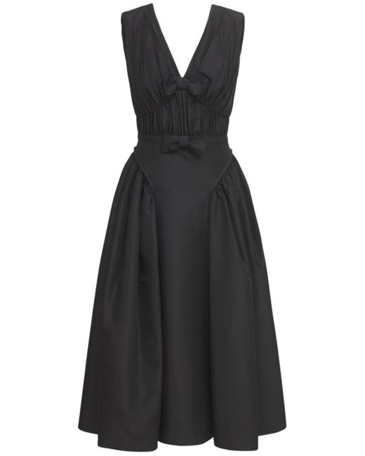 Self-Portrait Black Sleeveless Satin Midi Dress W/bows