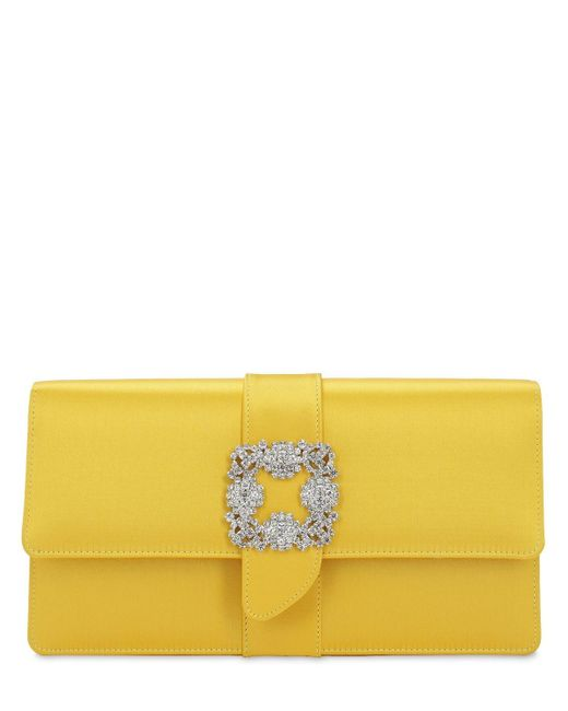 Manolo Blahnik Capri シルクサテンクラッチバッグ Yellow