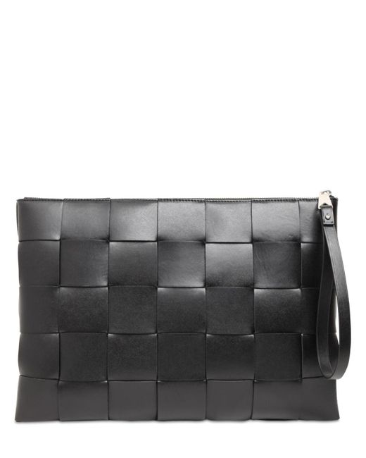 Кожаный Клатч Maxi Intreccio Bottega Veneta для него, цвет: Black