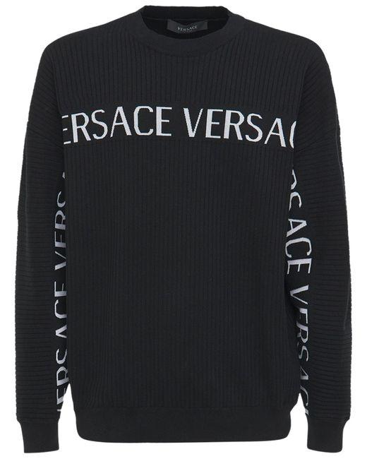 Свитер Из Хлопкового Трикотажа С Логотипом Versace для него, цвет: Black