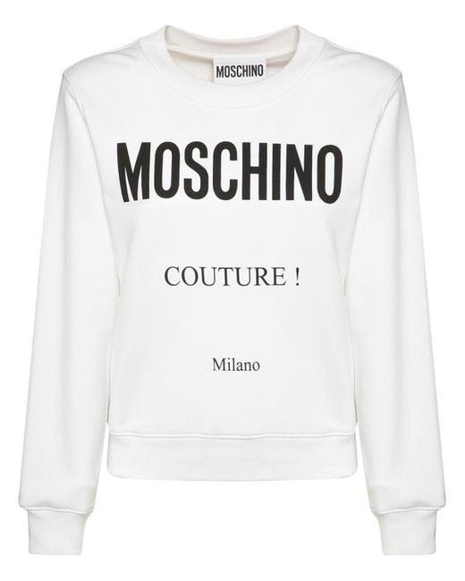 Джемпер Из Хлопка С Логотипом Moschino, цвет: White