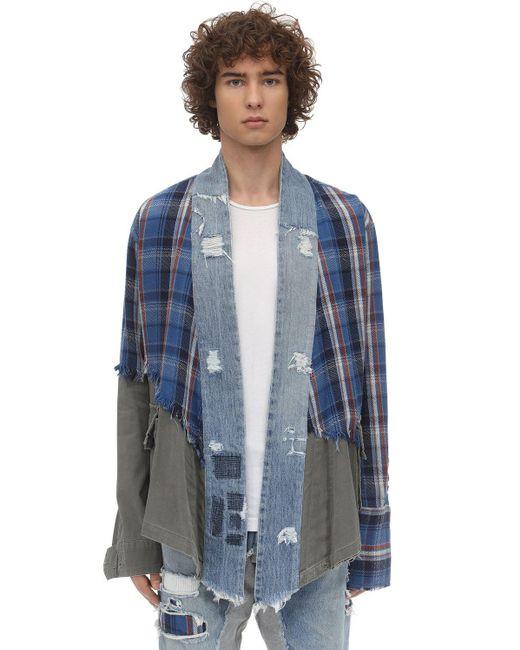 メンズ Greg Lauren パッチワーク&アーミーkimonoシャツ Blue