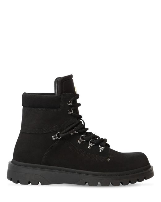 Moncler Black Egide Leather Lace-up Boots for men