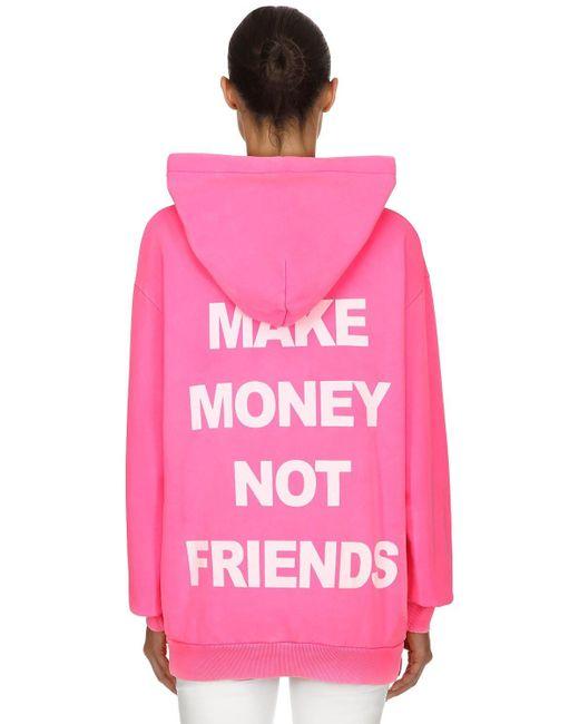 Sweat-Shirt À Capuche En Coton Imprimé Logo MAKE MONEY NOT FRIENDS en coloris Pink