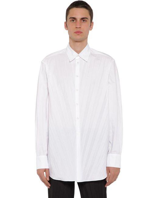 メンズ Valentino オーバーサイズ テクノコットンポプリン プリーツシャツ White