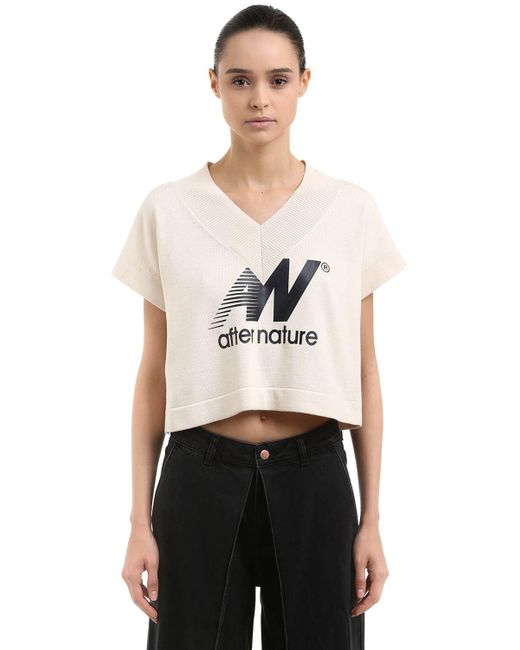 AALTO - White After Nature Print Cotton Crop Top - Lyst