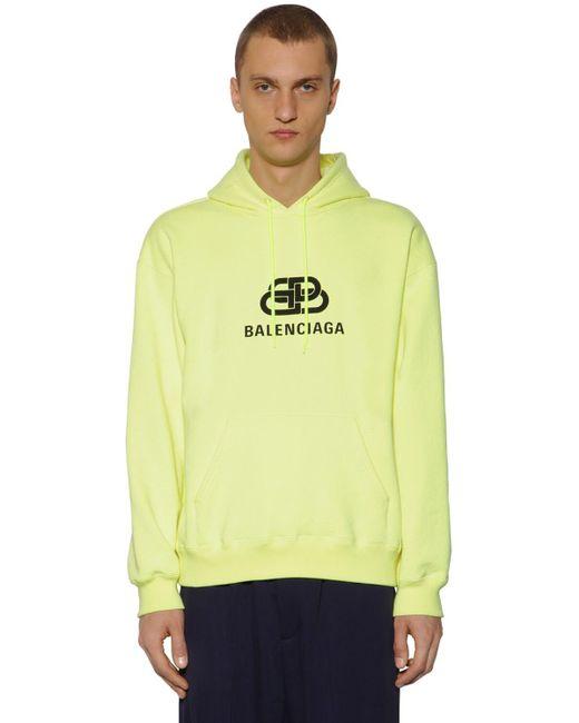 Balenciaga Logo Cotton Sweatshirt Hoodie In Yellow For Men