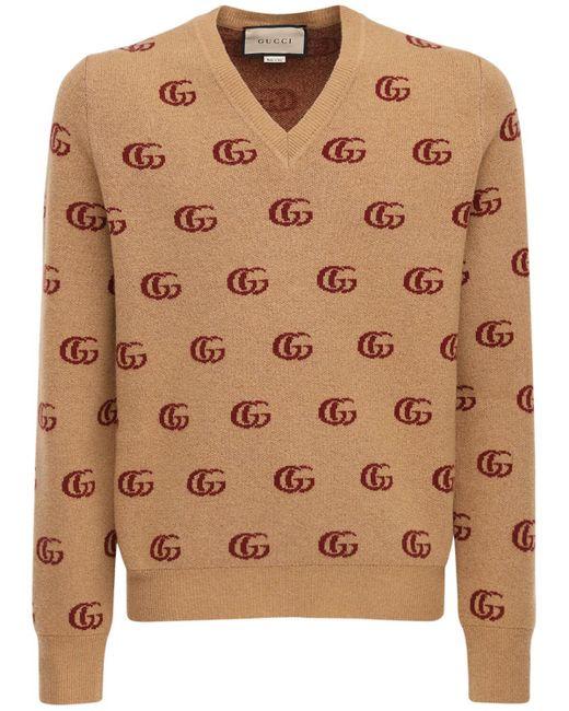 Свитер С V-образным Вырезом Шерсти Gucci для него, цвет: Multicolor