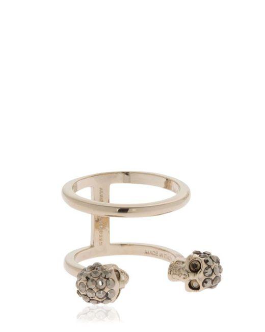 Alexander McQueen | Metallic Silver Double Skulls Stacked Ring | Lyst
