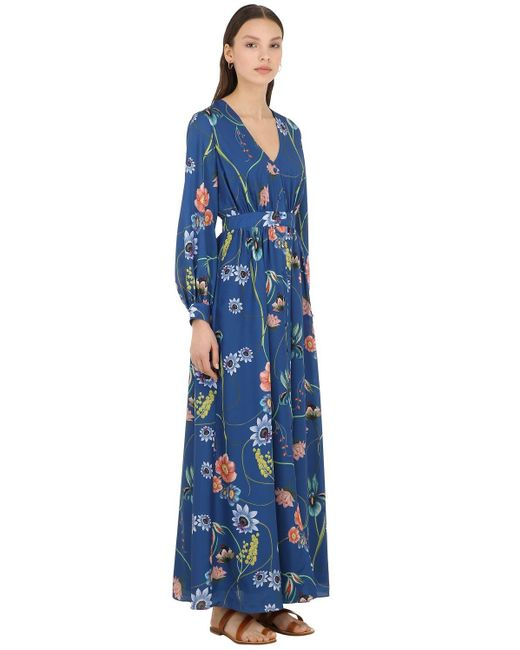 Borgo De Nor Francesca Vintage Floral クレープドレス Blue