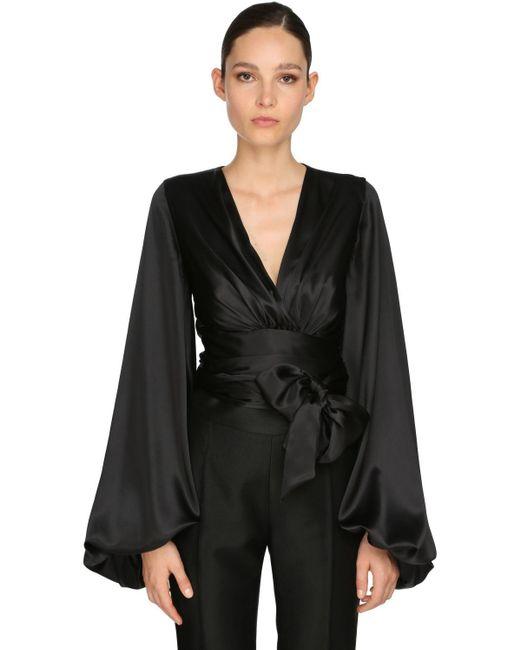 Camicia In Raso Stretch di Alexandre Vauthier in Black