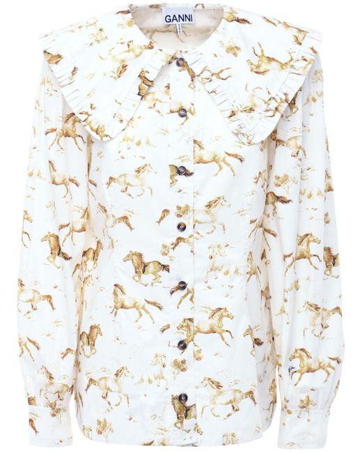Ganni コットンポプリンシャツ Multicolor