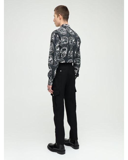 メンズ Alexander McQueen ツイルウールカーゴパンツ 17cm Black