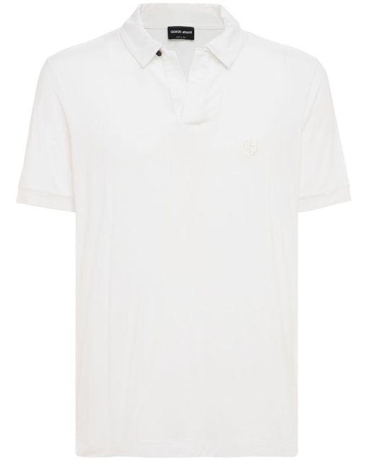 メンズ Giorgio Armani ビスコースポロシャツ White