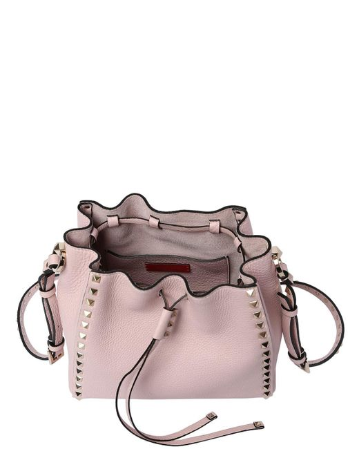 Valentino Garavani Rockstud グレインレザーバケットバッグ Pink
