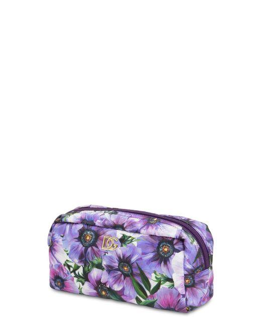 Dolce & Gabbana Purple Kosmetiktasche Aus Nylon Mit Druck