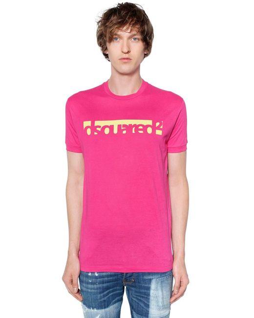 メンズ DSquared² ロゴプリント コットンジャージーtシャツ Pink