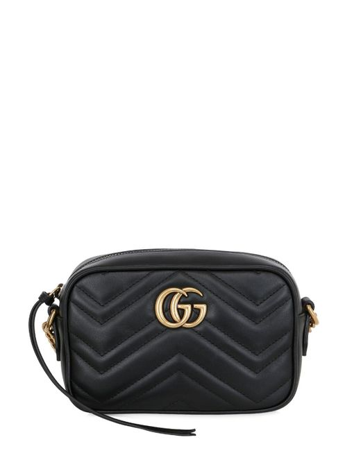 Gucci Black GG Marmont Small Leather Shoulder Bag