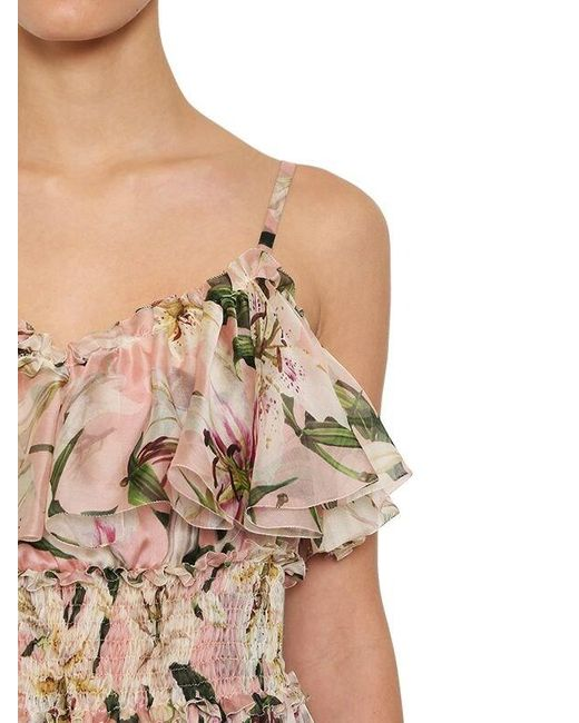 Платье Из Шелковой Органзы С Принтом Dolce & Gabbana, цвет: Multicolor