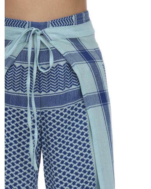 Pantalones Envolventes De Algodón Cecilie Copenhagen de color Blue