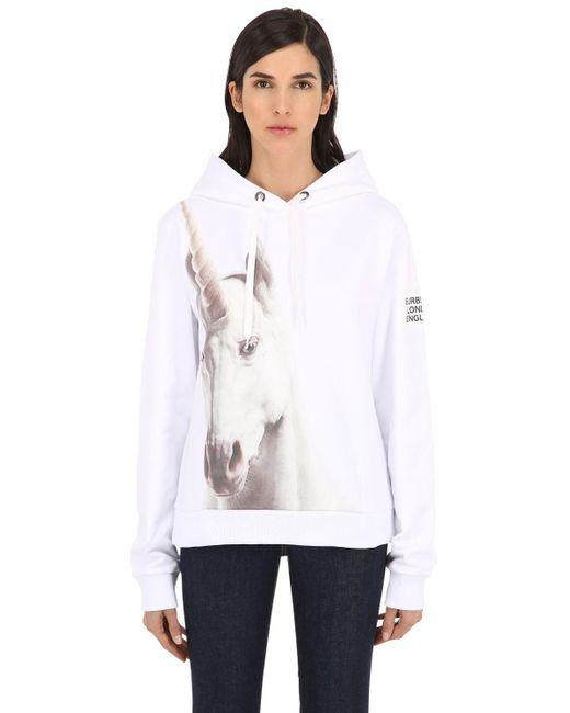 Burberry Unicorn コットンスウェットフーディ White