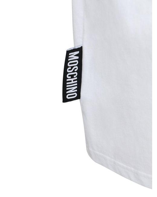 メンズ Moschino オーバーサイズプリントコットンtシャツ White