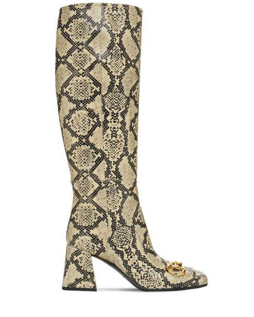 Кожаные Ботфорты С Принтом 75мм Gucci, цвет: Multicolor