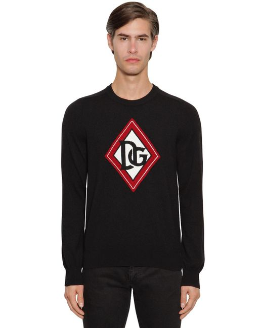 メンズ Dolce & Gabbana Dg インターシャカシミアセーター Black