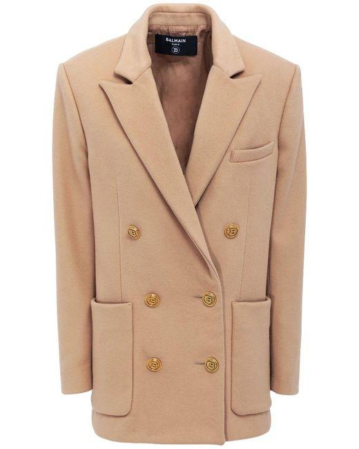 Balmain ウール&カシミアジャケット Natural