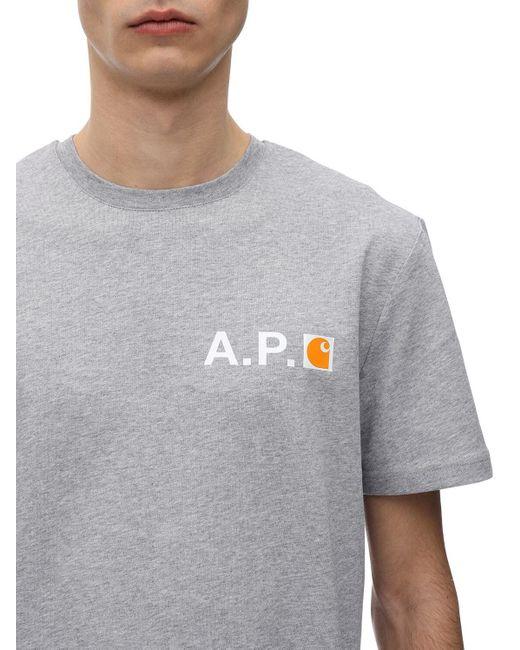 """A.P.C. T-shirt Aus Baumwolle """"carharrt"""" in Gray für Herren"""
