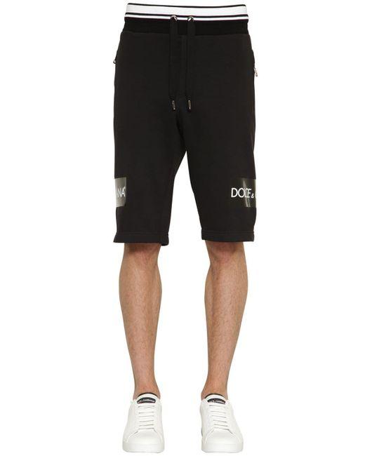 メンズ Dolce & Gabbana ブラック エンブロイダリー ロゴ テープ ショーツ Black