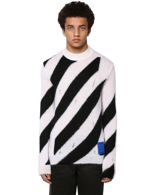 Трикотажный Свитер Из Мохера Off-White c/o Virgil Abloh для него, цвет: Black