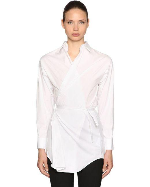 Chemise Style Portefeuille En Popeline De Coton DSquared² en coloris White