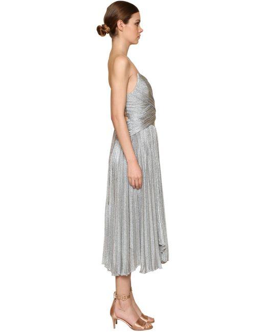 Maria Lucia Hohan メタリックメッシュプリーツドレス Gray