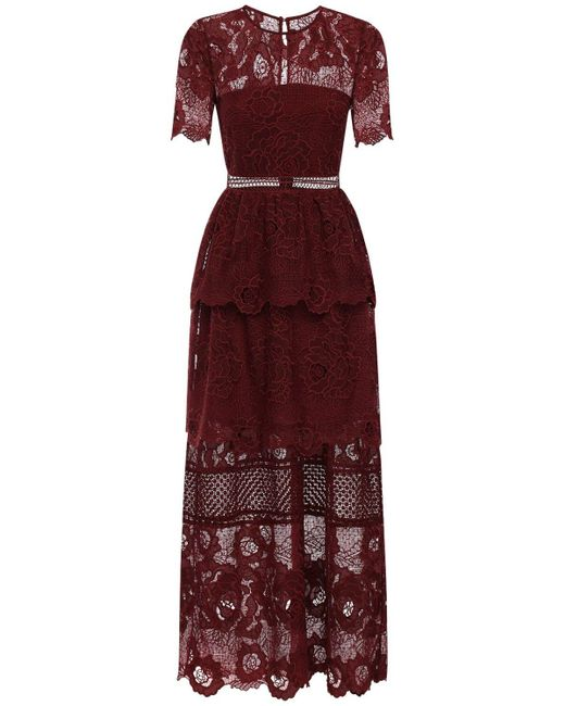 Self-Portrait Red Lace Long Dress