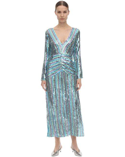 Платье Миди Emmy С Пайетками Rixo, цвет: Blue