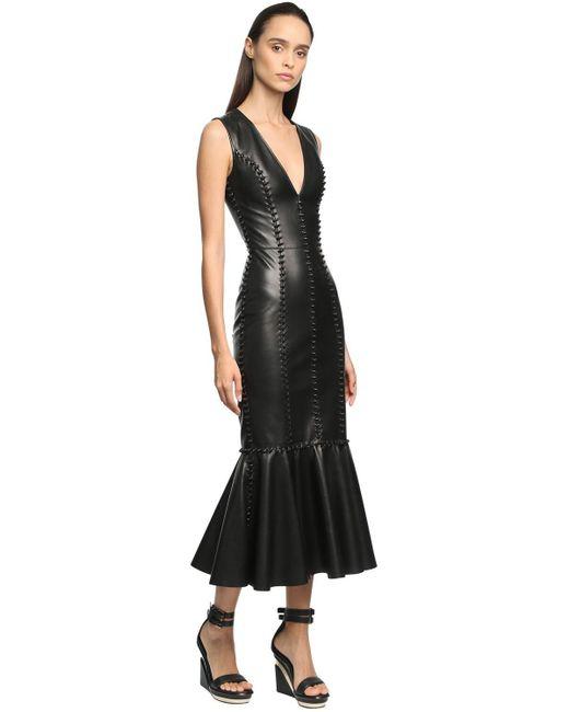 Платье Миди Из Кожи Alexander McQueen, цвет: Black