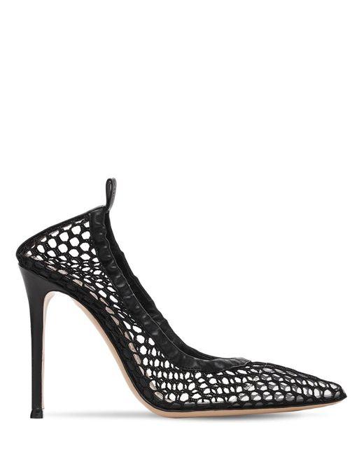 Туфли Из Кожи И Сетки Меш 105мм Gianvito Rossi, цвет: Black