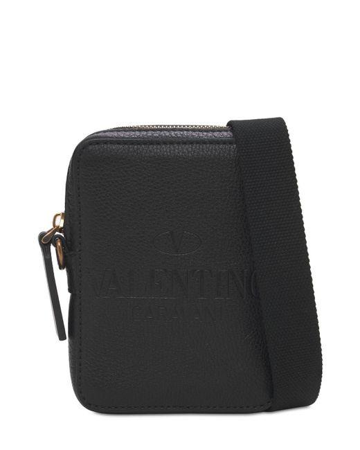 メンズ Valentino Garavani レザークロスボディバッグ Black