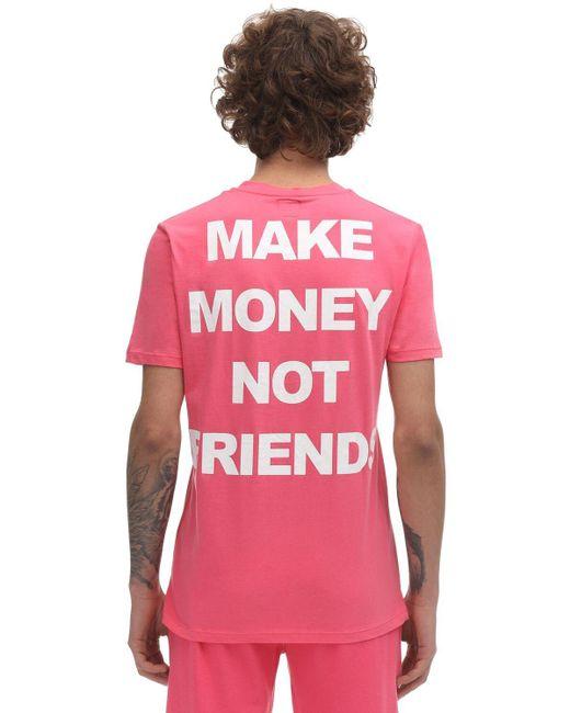 メンズ MAKE MONEY NOT FRIENDS コットンジャージーtシャツ Yellow