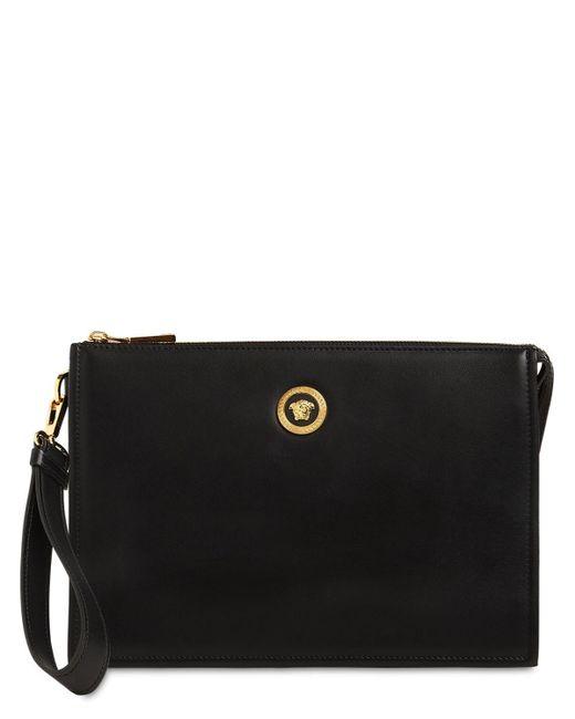 Кожаный Клатч Medusa Versace для него, цвет: Black
